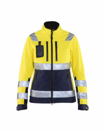 Blaklader 4902 Ladies High Vis Softshell Jacket (Yellow/Navy Blue)